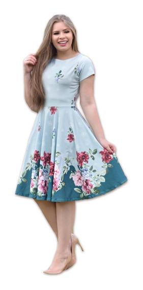 Vestido Midi Floral Neoprene Rodado Moda Evangelica