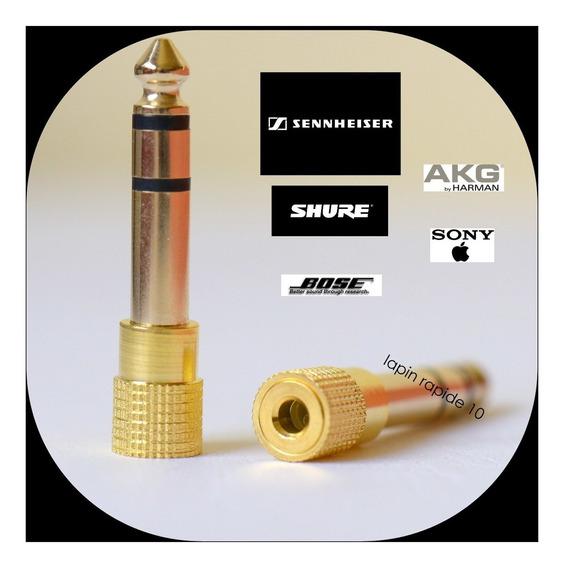 Plug Adaptador P2 P10 Gold 24 K Para Fones De Ouvidos