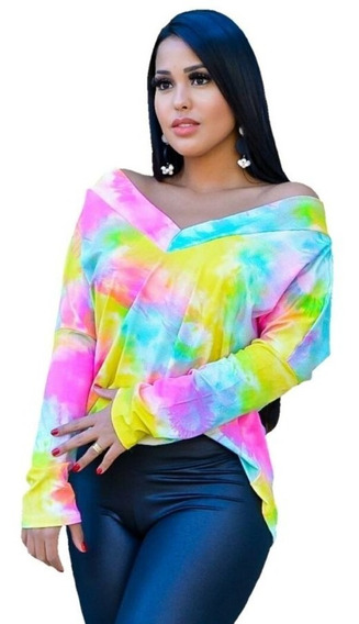 Blusa Tie Dye Manga Longa Gola V Frente E Atras Camisa Moda