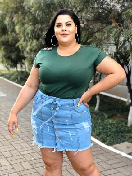 Short Saia Jeans Feminino Cintura Alta Desfiada Com Zíper