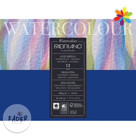 Block Fabriano Watercolor 300grs. 12 Hojas 25% Algodon 24x32