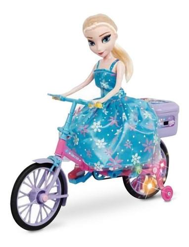 Muñeca Elsa Frozen En Bicicleta Con Movimiento Luz Sonido