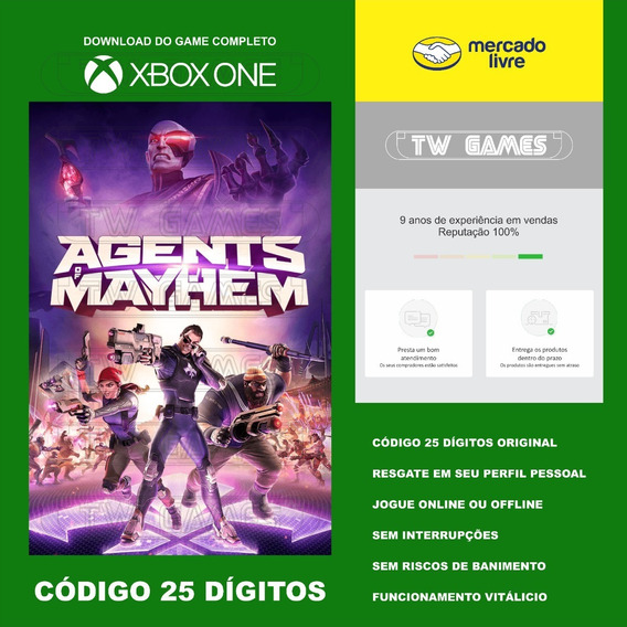 Agents Of Mayhem Codigo 25 Digitos Original Xbox One Fat S X