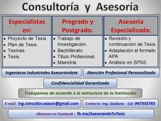 Asesor, Asesores Tesis: Ingenieros Industriales Asesorándote