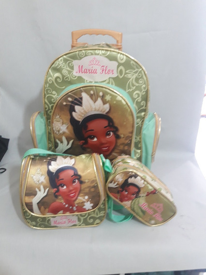 Kit Mochila Escolar Luxo Personalizado Princesa Tiana