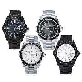Relógio Curren 8110 Prata Fundo Branco