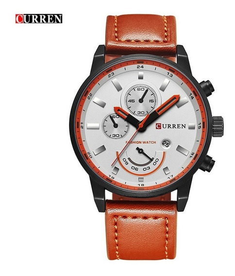 Relógio Original Masculino Curren Inox Pulseira Couro 8217
