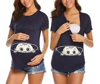 Maternidad Bebé Camisa Asomándose Divertido Embarazo Lindo A