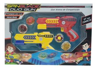 Spin Blade Duo Gun Kit Trompos C/luz Y Pista Ditoys Jlt 2316