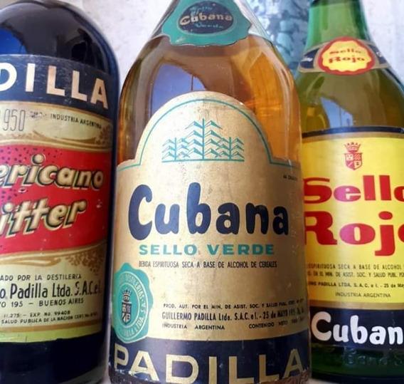 Antigua Botella Original Cubana Verde Padilla