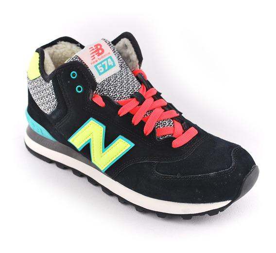 Zapatilla New Balance Wh574 Wa Negro/ama/nar Mujer Rcmdr