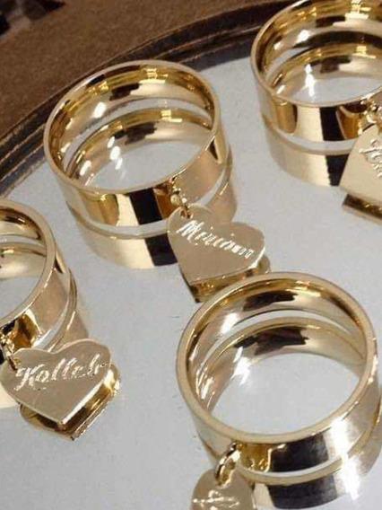 Kit 2 Anéis Coração Personalizados Folheado A Ouro 18 K