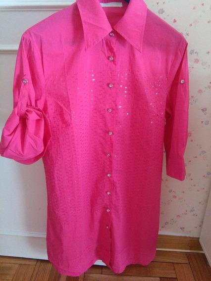 Camisa Camisola Importada Rosa Talle L Manga 3/4 Como Nueva