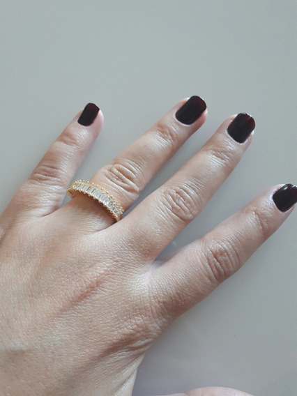 Anel Com Pedras Folheado Ouro 18k Tam:22 - 50% Off