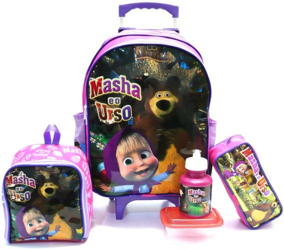 Kit Mochila Infantil Escolar Masha E O Urso Rosa Rodinhas Meninas Tam G F1