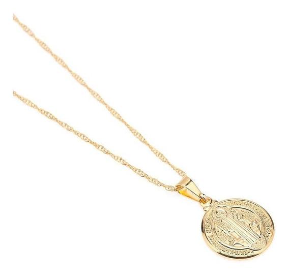 Medalha De São Bento E Corrente Folheada A Ouro 023