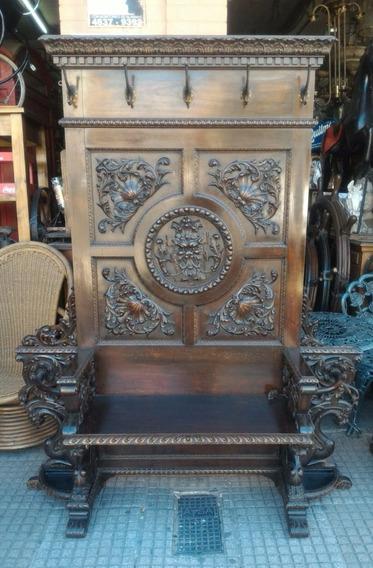 Mueble Perchero Recibidor Antiguo Tallado De Cedro Paraguero