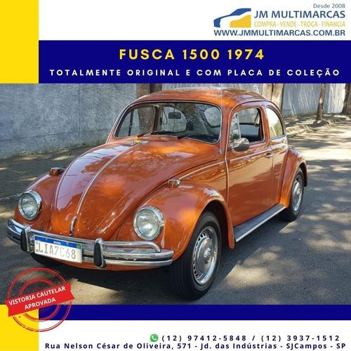 Fusca 1500 1974 De Coleção Placa Preta Já No Padrão Mercosul