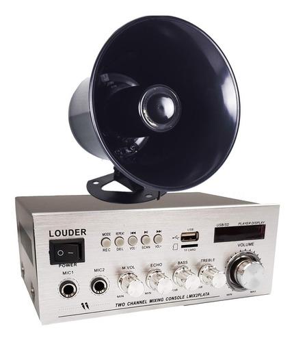 Amplificador Kit Paquete Perifoneo Voceo Usb/sd/bt Trompeta