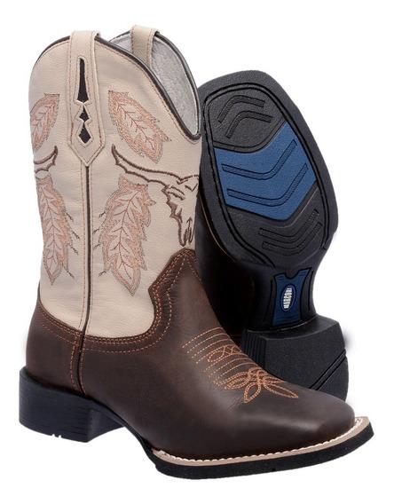Bota Feminina Texana Country Cano Médio Bico Quadrado Couro