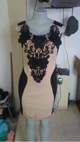 Vestido Negro/nude, Corto Para Dama