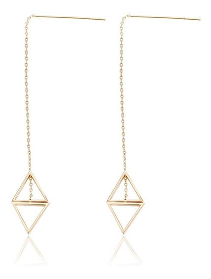 Brinco Triângulo - Banho Ouro 18k