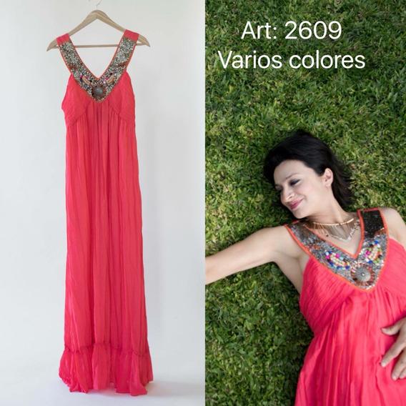 Vestido De Gasa Escote Bordado Hippie Style T/grandes 2609