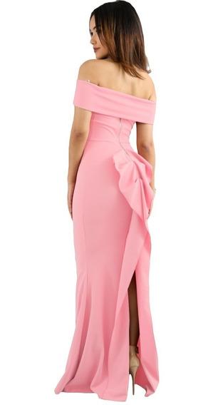 Vestido De Fiesta Color Rosa Sin Hombros Moda Liquidación!!