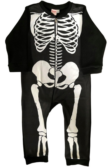 Pijama Niños Enterito Polar Esqueleto Halloween Mundo Manias