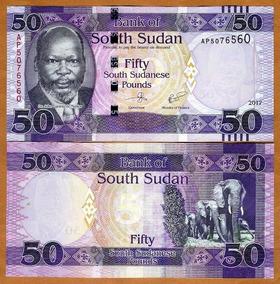 Sudão Do Sul 50 Libras 2017 P. New Fe Cédula - Tchequito