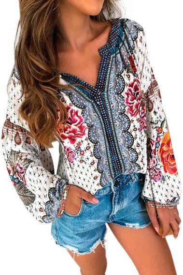 Blusa Juvenil Dama Estampado Floral Multicolor Cuello V 252533