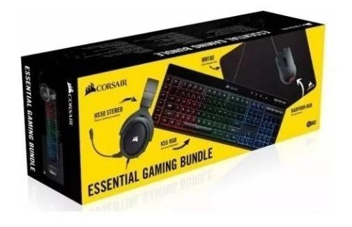Combo Gamer Corsair 4x1 Gaming Headset Pad Mouse Teclado