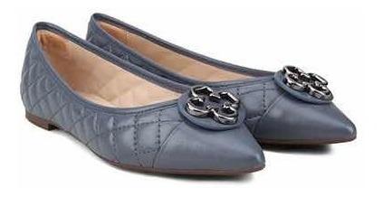 Sapato Feminino Sapatilha Couro Azul Capodarte Confortavel
