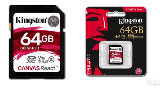Cartão Memória Kingston Sdxc 64gb Canvas React - Sdr/64gb