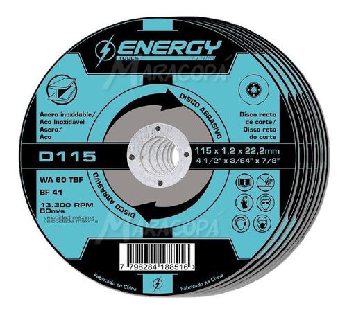 Imagen 1 de 4 de Discos De Corte 4 ½'' Acero Energy 1.2mm Caja X 10 Unidades