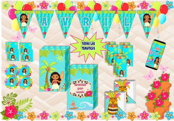 Combo Fiesta 10 Bolsitas Sticker Banderín Tematica Mohana