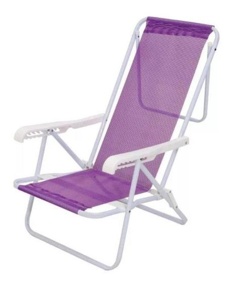 Cadeira De Praia Lilás 8 Posições Sannet 2290 Mor