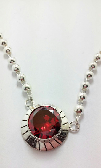 Elegante Collar Granate En Plata Fina .925