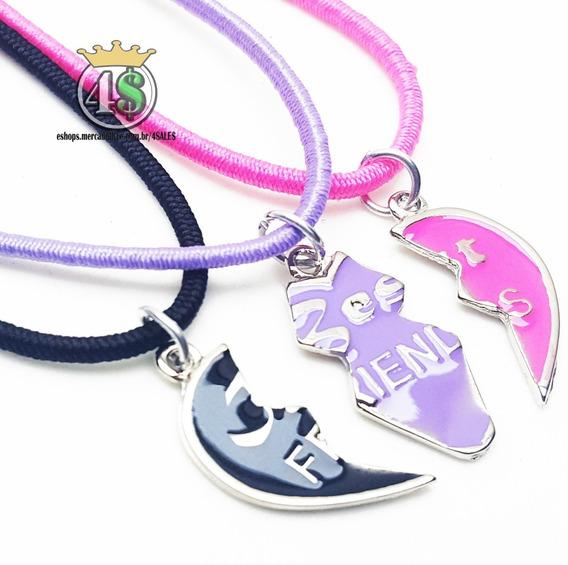 3 Colar Best Friends Forever Amizade Bff Coração Color