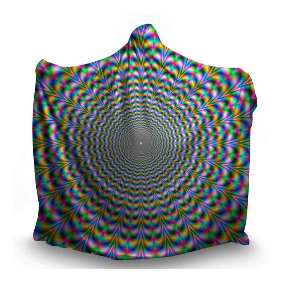 Manta Com Gorro Psicodélica Ilusão Ótica Visual Arco Íris 3d