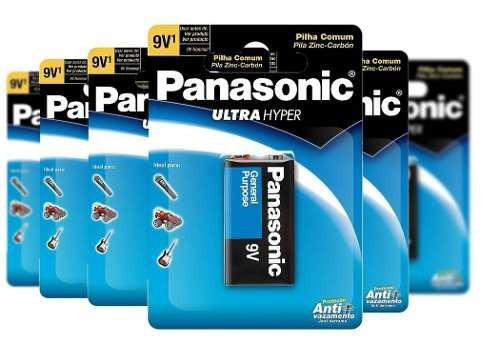 Bateria 9v Comum Anti Vazamento Panasonic Kit 12 Cartelas