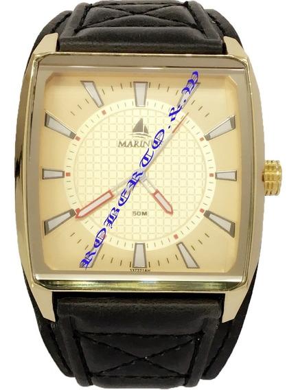 Relógio Masculino Unisex Dourado Pulseira Couro Preto +caixa