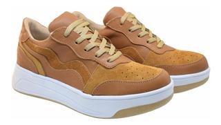 Zapatillas De Cuero Con Plataforma Mujer Urbanas Sneakers