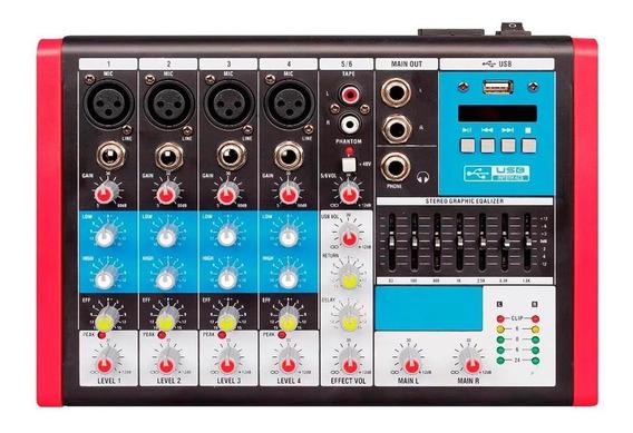 Mesa De Som 6 Canais Usb/eq Soundvoice Mc6 Eux