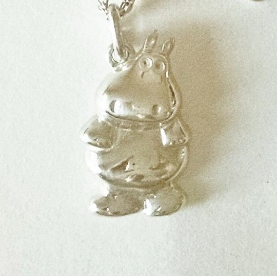 Dije De Hipopotamo De Plata Sólida .925 Sterling