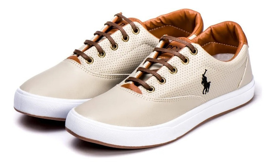 Tênis Sapatenis Polo Way Masculino Casual Couro Oldse Bege