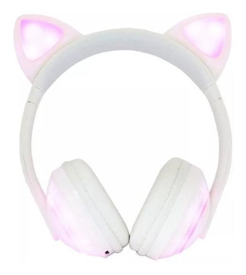 Fone Ouvido Headphone Orelha Gato Bluetooth Infantil P2 Led