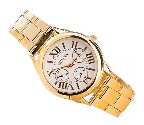 Relógio Estilo Luxo Pulseira Dourada Mostrador Branco Quartz