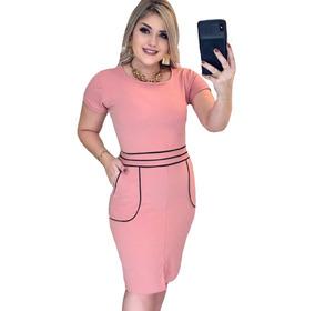 Vestido Moda Evangélica Malha Creppe Fechadinho Oferta