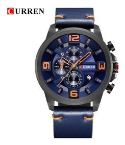 Relógio Curren 8288 Original Cronógrafo Funcional De Couro